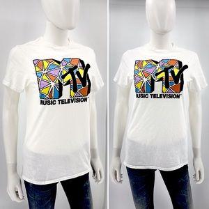 MTV-Size S-White Retro Style T-shirt